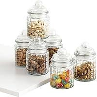 Home Centre Mimosa Storage Glass Jars- Set of 6 Pcs - 250 ml - Transparent