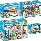 PLAYMOBIL City Life 4er Set 9454 9455 9456 9457 Turnhalle + Klassenzimmer Geschichtsunterricht + Chemieunterricht + Hausmeister mit Kiosk