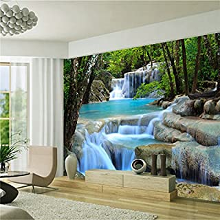 Große 3D 3D Tapete Wandbild Blau Landschaft Wasserfall Wald Hintergrund Schlafzimmer TV Hintergrund Wand, XXL(13'6