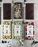 LUXURIOUS Organisch Veganes Schokoladen-Geschenksortiment-Geschenksortiment 3 Geschmacksrichtungen Zartbitterschokolade mit Lavendel und Zitrone/Pistazien und Salz/Rose und Schwarzer Pfeffer