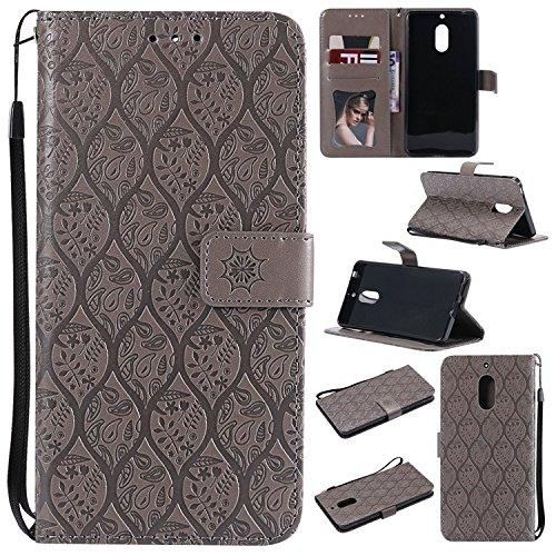 Guran PU Leder Tasche Etui für Nokia 6.1(2018 Version)/Nokia 6(2018 Version) Smartphone Flip Cover Stand Hülle und Karte Slot Rattan Case - grau