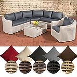 CLP Poly-Rattan Loungemöbel Set COSTA RICA, Sofalandschaft + Sessel + Glastisch, 6 Sitzplätze Bezugfarbe: Eisengrau, Rattanfarbe: Perlweiß