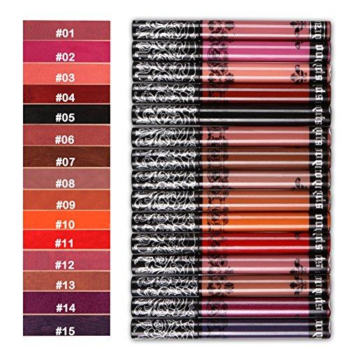 Someas 15 pieces long lasting waterproof matte liquid lipstick, lip gloss, lipstick set