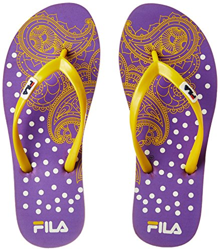 Fila Women's Trendy Flip Pur and Yel Slippers - 4 UK/India (38 EU)(11004919)  available at amazon for Rs.224