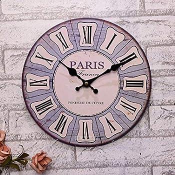 Babimax Vintage Style Chic minable Maison 30cm Silencieux en Bois Horloge  Murale Ronde en Bois Arabe Design Horloge Murale décorative pour Salon, ... 463866a3af9a