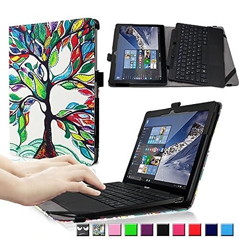 Infiland Odys Winpad 10 2in1 /Lenovo Miix 300 10.1 zoll Hülle Case -Slim Fit Folio PU-lederne dünne Kunstleder Schutzhülle Cover Tasche für Odys Winpad 10 2in1 25,7 cm (10,1 Zoll) Convertible Tablet-PC/ Lenovo Miix 300 25,6 cm (10,1 Zoll HD IPS) Windows Tablet PC(mit Auto Schlaf / Wach Funktion,Tablet und Tastatur sind nicht entgehaltet)(Fröhlicher Baum)