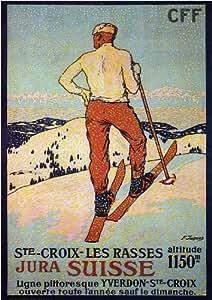 LES COURSES DE SKI À STE CROIX par François Jacques - 1921 – Poster Vintage A3 Finition Brillant (420 mm x 297 mm)