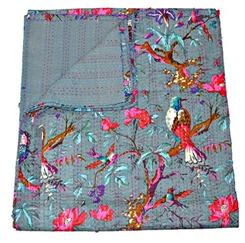 Sophia Art indischen Grau Kantha Quilt, Indian Kantha Quilt, Decke, Queen, Bird Print Kantha Werfen, handgefertigt Kantha Bestickt Tagesdecke, -
