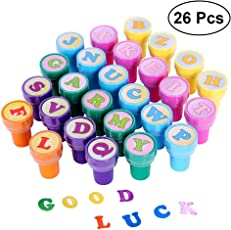 STOBOK 26pcs Alphabet Letter Stampers Plastic Signet Set Students Rewards Birthday Party Favors Supplies