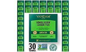 Grüne Teeblätter aus Himalaya (30 Teebeutel), 100% natürlicher Gewichtsverlust-Tee, Detox-Tee, Tee abnehmen, ANTI-OXIDANTS RICH - Grüner Tee Loose Leaf - Brauen Sie heißen oder Eistee - 15 Ct
