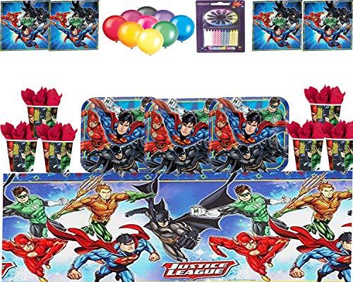 61wM0s1TE2L - Justice League Party DC Suministros Niños Fiesta de cumpleaños Vajilla Platos Tazas Servilletas Mantel con Paquete de Globos Gratis y Velas para 16 Invitados