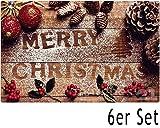 matches21 Tischsets Weihnachten Platzsets MOTIV Merry Christmas & Weihnachtsdeko auf Holzbrett 6 Stk. Kunststoff abwaschbar je 43,5x28,5 cm