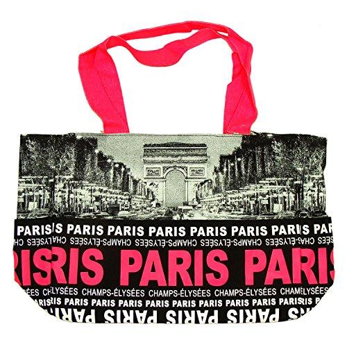 Robin Ruth - Sac Shopping Paris 'Champs-Élysées' - Noir, Fushia