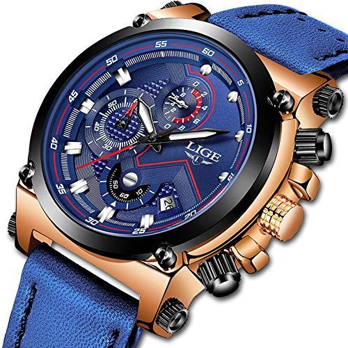 Lige orologio lusso moda impermeabile sport orologio classico affari analogico quarzo orologio e tempo libero blu cinturino pelle orologio