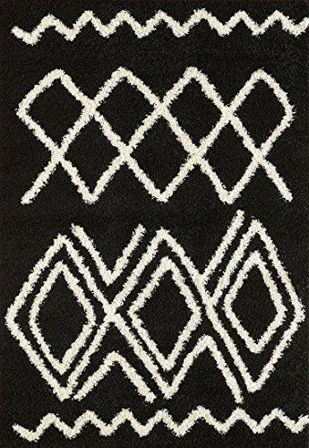 A2Z RUG A2Z–Alfombra (140x 200cm) (4ft7x 6ft7) negro 5531 moderno y tradicional marroquí Shaggy colección vida contemporáneo y dormitorio suave Shaggy área alfombra, alfombra