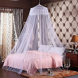 Alicemall Bed Mosquito Net Canopy Fly Midges Insect Netting Curtain Dome Insect Net Protection No Skin Irritation Deet Free Natural Repellent White