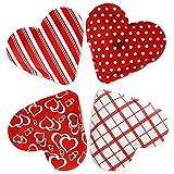 com-four® Scaldino a Quattro Tasche in Forma di Cuore/scaldamani riscaldato a Circa 50 ° C a 55 ° C (Heart Pattern - Set di 4)