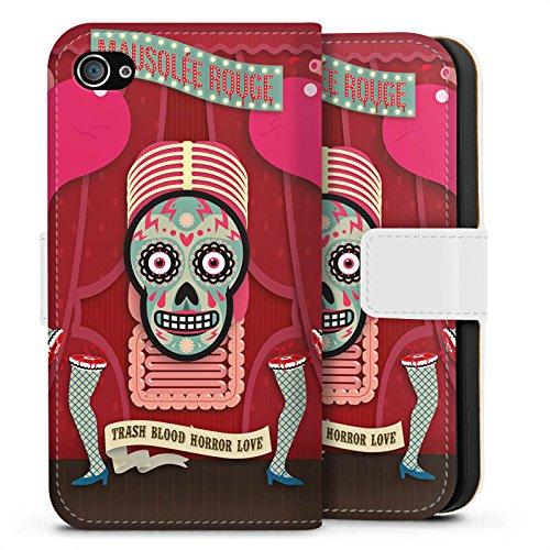 Apple iPhone X Silikon Hülle Case Schutzhülle Totenkopf Knochen Pinup Sideflip Tasche weiß