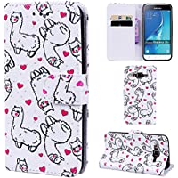 Ooboom® Samsung Galaxy J3 2016 Case Emboss 3D Wallet PU Leather Magnetic Flip Folio Cover Stand with Credit Card Slots Cash Holder for Samsung Galaxy J3 2016 - Alpaca
