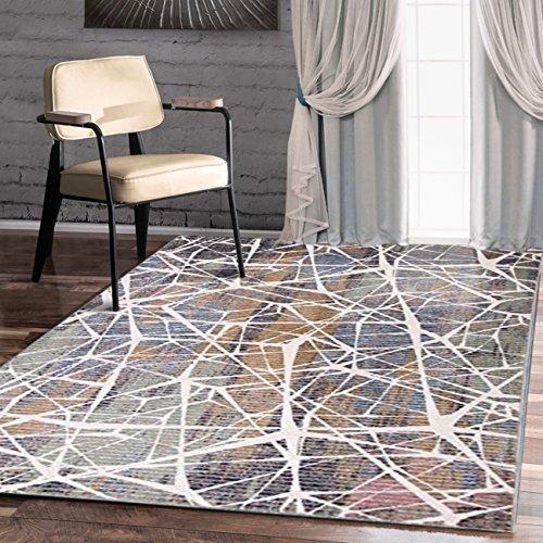 A2z Schnellspanner Teppich Modern Top Qualität (grün, beige, Multi 150x 225cm–4'22,9cm X 7' 10,2cm FT) Deco Collection aus Keramik Bereich Teppich, perfekt für Wohnzimmer–Esszimmer–Schlafzimmer Teppiche und Teppiche (Elfenbein-polypropylen-teppich)