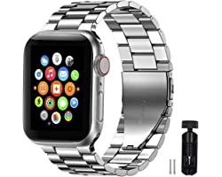 PATIOSNAP Watch Band for Apple Watch, Stainless Steel Metal Smartwatch Replacement Strap for iWatch Series 6/SE/5/4/3/2/1 (42