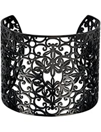 Inox Jewelry Black Stainless Steel Floral Filigree Design Cuff Bangle For Women