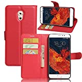 Tasche für Meizu Pro 6 Plus Hülle, Ycloud PU Ledertasche Flip Cover Wallet Case Handyhülle mit Stand Function Credit Card Slots Bookstyle Purse Design rote