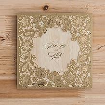 VStoy Oro Corte Láser invitaciones de boda flores para fuente de recuerdo de la fiesta de cumpleaños de tarjetas con sobre y sellado 20 piezas (dorado)