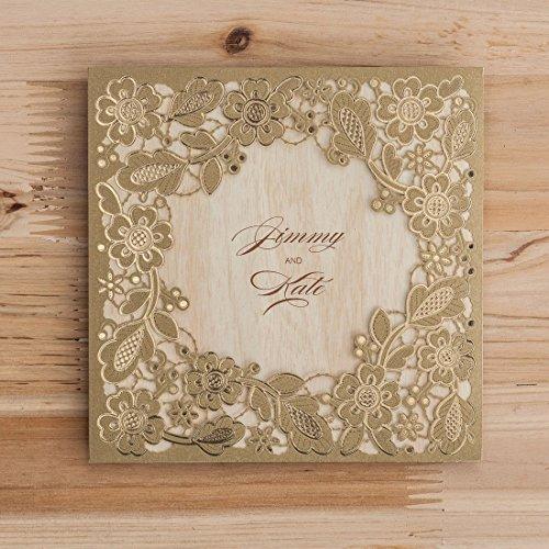 VStoy Oro Corte Láser invitaciones de boda flores para fuente ...