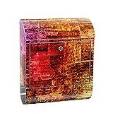 liwwing Briefkasten Edelstahl mit Motiv und Zeitungsfach, Zeitungsrolle als XXL Design Wandbriefkasten | Zeitungsausschnitte alt abstrakt | no. 0056