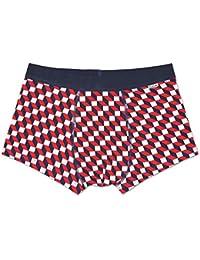 Happy Socks New Filled Optic Men's Boxer Trunk, Navy/White/Red