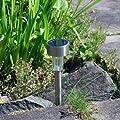 Solarbetriebene Gartenlichter, Edelstahl, 10 Stück