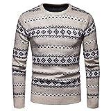 Yvelands Herren Weihnachten Pullover Herbst Winter Pullover Gestrickte Top gestreift Pullover Outwear Bluse(EU-50/XL,Khaki)