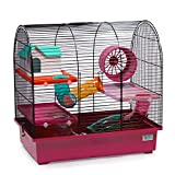 CTC-Trade | Hamsterkäfige Pink Außenmaße 49x32,5x48,5 Mäusekäfig Nager Hamster Plastik Kleintier Käfig mit Zubehör
