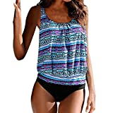 Dorical Damen Tankini Bikini Bademode Badeanzug Slip Set Große Größen bademode Frauen Plus Size,Ladies Bikini-Sets Tankini Oversize Blume Push up(Blau,XX-Large)