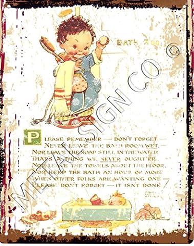 15x20cm Petite Mabel Lucie Attwell n'oubliez pas de salle de bain plaque en métal de cuisine de style vintage Café rétro Bar Pub Décoration murale Bureau salle de jeux la toilette jacuzzi