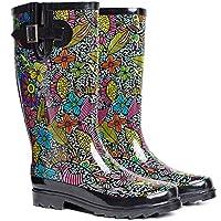 SheSole Womens Ladies Wellies Rain Wellington Boots Floral Black