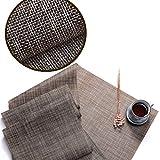Vidillo Platzsets, Tischläufer für Esstisch, Polyester Gewebtes Vinyl, Tischsets für Küche, Tischdecken, eleganter Tischläufer, leicht zu reinigen M
