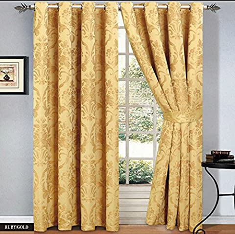 Ring Top Curtains Jacquard Fully Lined Eyelet Tape Pair Curtain + 2 Free Tie backs (2 x ( 66