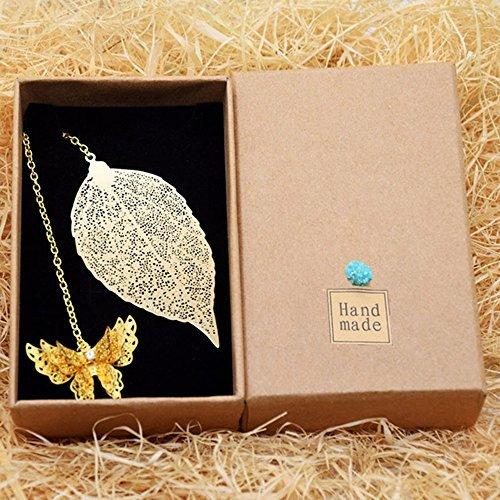 Bronze-gold Leaf (ekloen Metall Leaf Vein und Schmetterling Lesezeichen, exquisite Golden Lesezeichen Perfekte Geschenke)