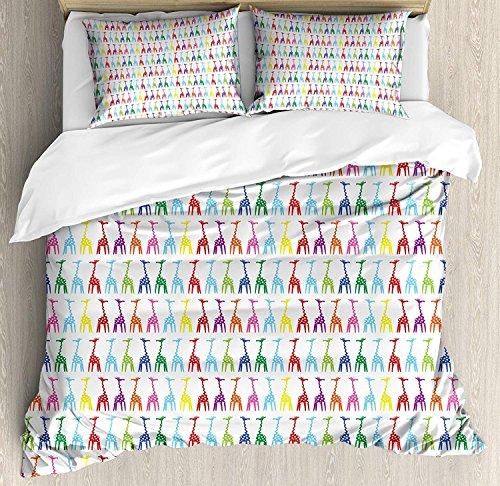 Giraffe 3-teiliges Bettwäscheset Bettbezug-Set, abstrakt gepunktete Tierkörper mit langem und gewelltem Hals Afrikanische Fauna Inspirierte Kunst, 3-tlg. Tröster- / Qulitbezug-Set mit 2 Kissenbezügen, -