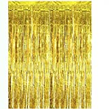 gold Foil Curtains Metallic Fringe Curtains Shimmer Curtain Photo Backdrop for Halloween Christmas Birthday Party Wedding Dec