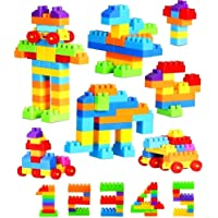 Funkey Plastic Building Block With Wheel, Multicolour, 3 Years And Above, 110 Pieces Blocks