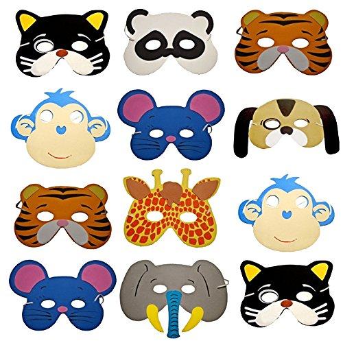Friendly Eco Kinder Kostüm - 12pcs Kinder Netter Waldtier-Form-Masken-Neuheit-unterschiedlicher Art-Gesichtsmaske-Schaum-bequeme Spielwaren-Zusätze für Kindergeburtstags-Gastgeschenke Dress-up Kostüm zeigt Unterhaltung