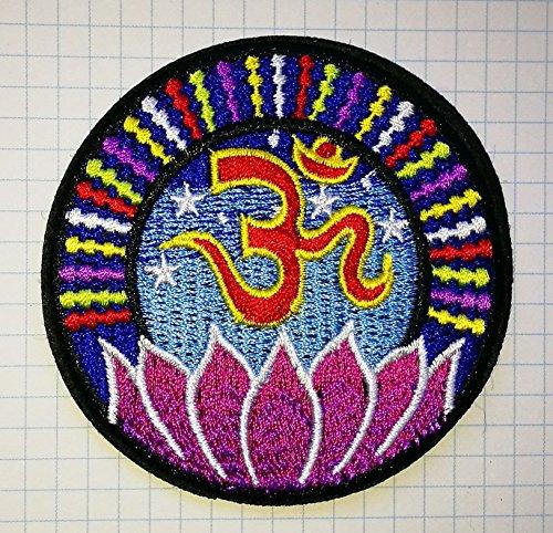 Lotus Aum Om Unendlichkeit Hindu Hinduismus Yoga indischen Trance bestickt Tuch Eisen auf Patch