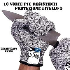 Idea Regalo - Guanti Antitaglio, Guanti da Lavoro, protezione livello 5, Guanti da cucina resistenti al taglio, Guanti giardinaggio,Fai da te, livello alimentare, certificato EN388, taglia universale