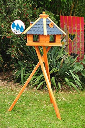 Vogelhaus XXL Premium, ca. 70-75 cm, wetterfest Massivdach, mit Silo/Futtersilo für Winterfütterung,Gartendeko aus Holz BLAU mit Ständer blaue BGX75blMS, Futterhaus