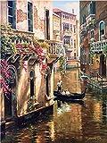 Shukqueen DIY dipingere con i numeri per adulti, DIY pittura a olio kit per bambini principianti–Venice City 40,6x 50,8cm, Venice, Framed Canvas
