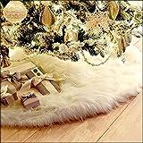 Guwheat Gonne Albero di Natale Bianco di Lusso Faux Fur Tree Ornaments Peluche XmasTree Gonna per la Festa di Natale Decorazione di Capodanno (Bianca 78 cm)
