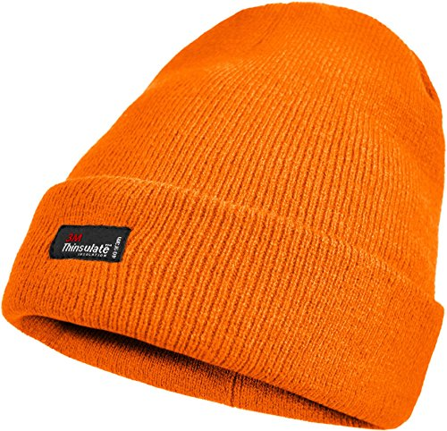 Skimütze mit Thinsulatefütterung extra warm Farbe Orange - fluoreszierend (Orange Schal Für Männer)